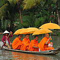 Buddhist Monks in Mekong river
