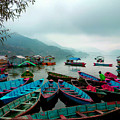 Colorful Boats On Phewa Lake In Pokhara Nepal